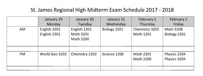Midterm Exam Schedule 2018 – St  James Regional High